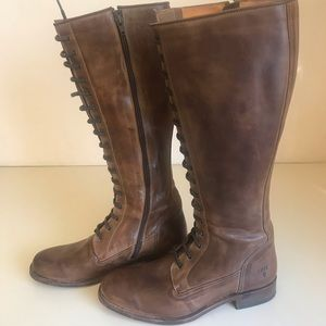 Frye Brown Lace Up Riding Boots